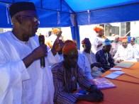 Alhaji Badru Enifeni address the gatherin
