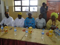 L-R, Mr Olusegun Iluyombo, Alhaji Forunsho, Comrade Kehinde Okeowo, Mayor Deen and Erelu Shonibare on the hightable at the awards ceremony on Sunday
