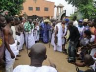 Oba Kasali dancing to Gbedu drum at the palace
