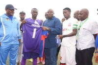 ??????????Lagos State Governor, Mr. Akinwunmi Ambode (middle), being presented with MFM Football Club jersey by the Captain, Opara Austine (2nd left) during the Nigeria Professional Football League derby between Ikorodu United Football Club and MFM Football Club at the Agege Stadium, Lagos on Sunday, July 03, 2016. With them are Speaker, Lagos State House of Assembly, Rt. Hon. Mudashiru Obasa (left); Captain of Ikorodu United Football Club, Fatai Abdullahi (2nd right) and Special Adviser on Sport to the Governor, Mr. Deji Tinubu (right).