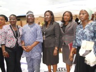 Hon. agunbiade with Mrs Adesoye and other Ministry officials