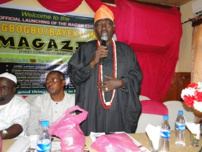 High Chief Tajudeen Alade Dudyemi Onasanya, the Odofin of Igbogbo speaking during the unveiling