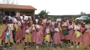 Pupils posing with their gifts