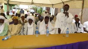 Grand Chief Imam of Ikorodu division, Alhaji Olowooribi and other Islamic clerics during the Muslim prayer for Pa Agunbiade in Ikorodu