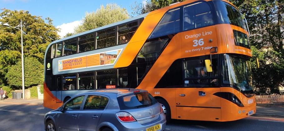 Bio-gas powered 36 Orange Line bus in Beeston