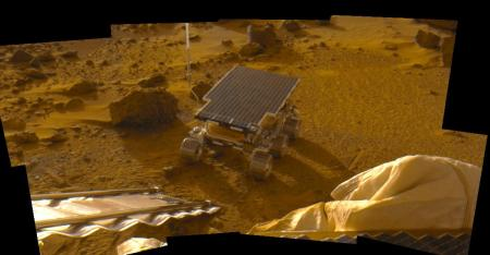 Photo of the Mars surface taken by the Sojourner rover