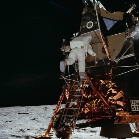 Buzz Aldrin descends from the Moon Lander