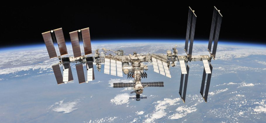 International Space Station viewed with the Earth i the background