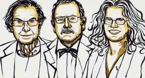 Cartoon illustration of oger Penrose, Reinhard Genzel, and Andrea Ghez