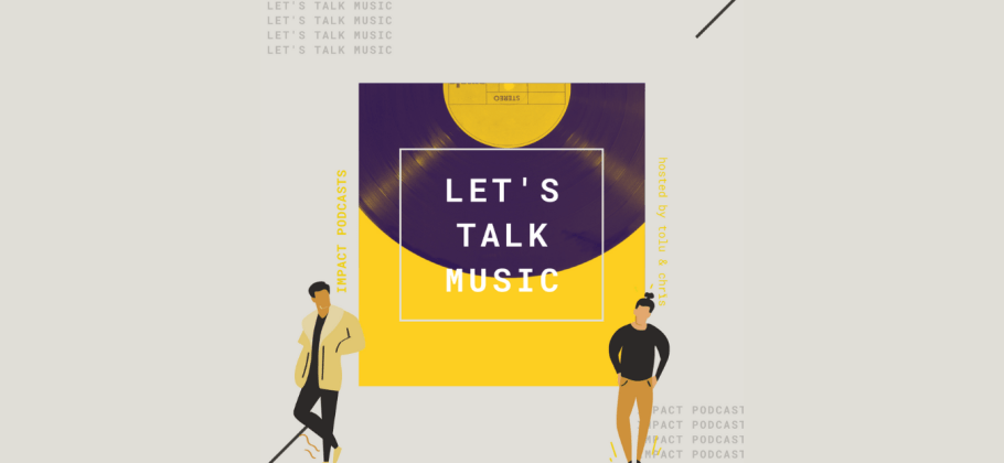 Logo for Let's Talk Music, featuring the title superimposed over a yellow vinyl.