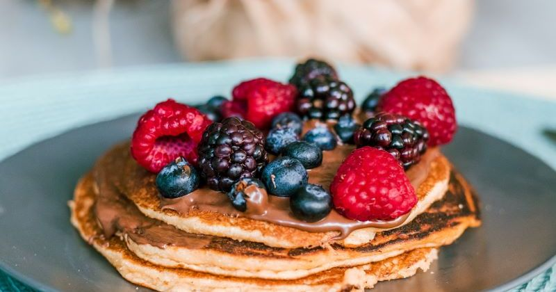 Pancake Stack with Peanut Butter and Berries