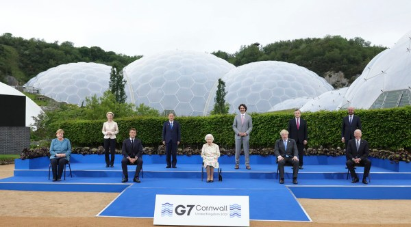 Her Majesty, Queen Elizabeth II, sits for a group photograph with all the G7 leaders at the Eden Project