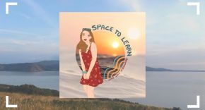 Cover of a Space to Learn Podcast - A girl is standing in front of a sea