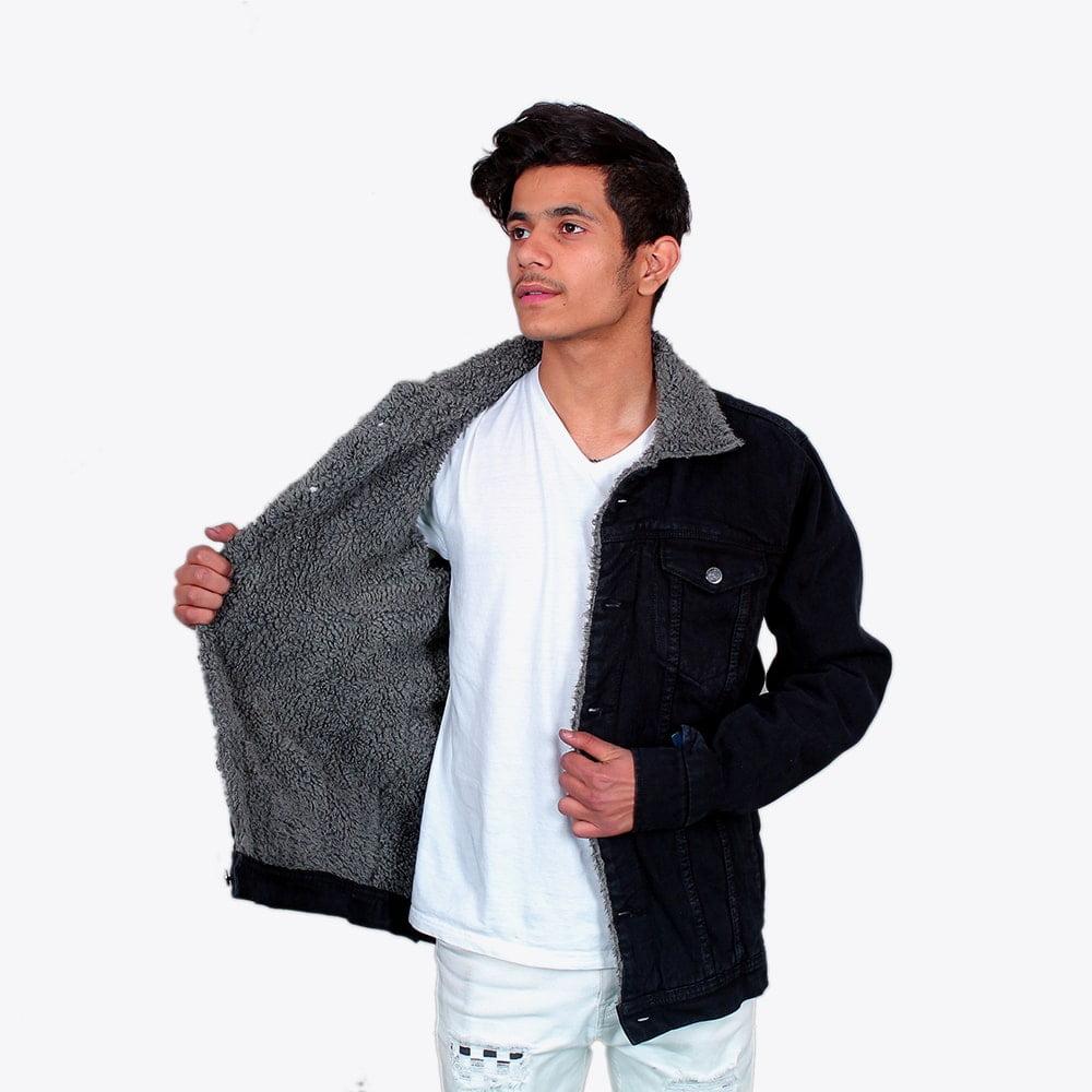 Impaurito Mens Black Sherpa Denim Jacket With Charcoal Grey Fur_1