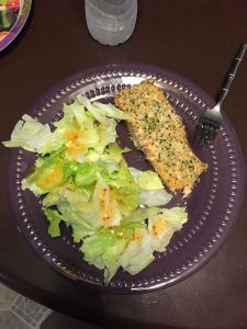 Panko Crusted Honey Mustard Salmon & Salad