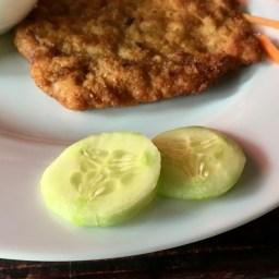 Sliced Cucumber with Chicken Schnitzel