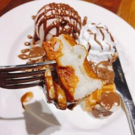 Waffles with Strawberry Ice Cream, Banana, Nutella, Whipped Cream