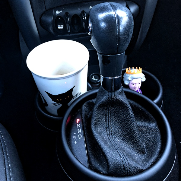 Travel mug in car