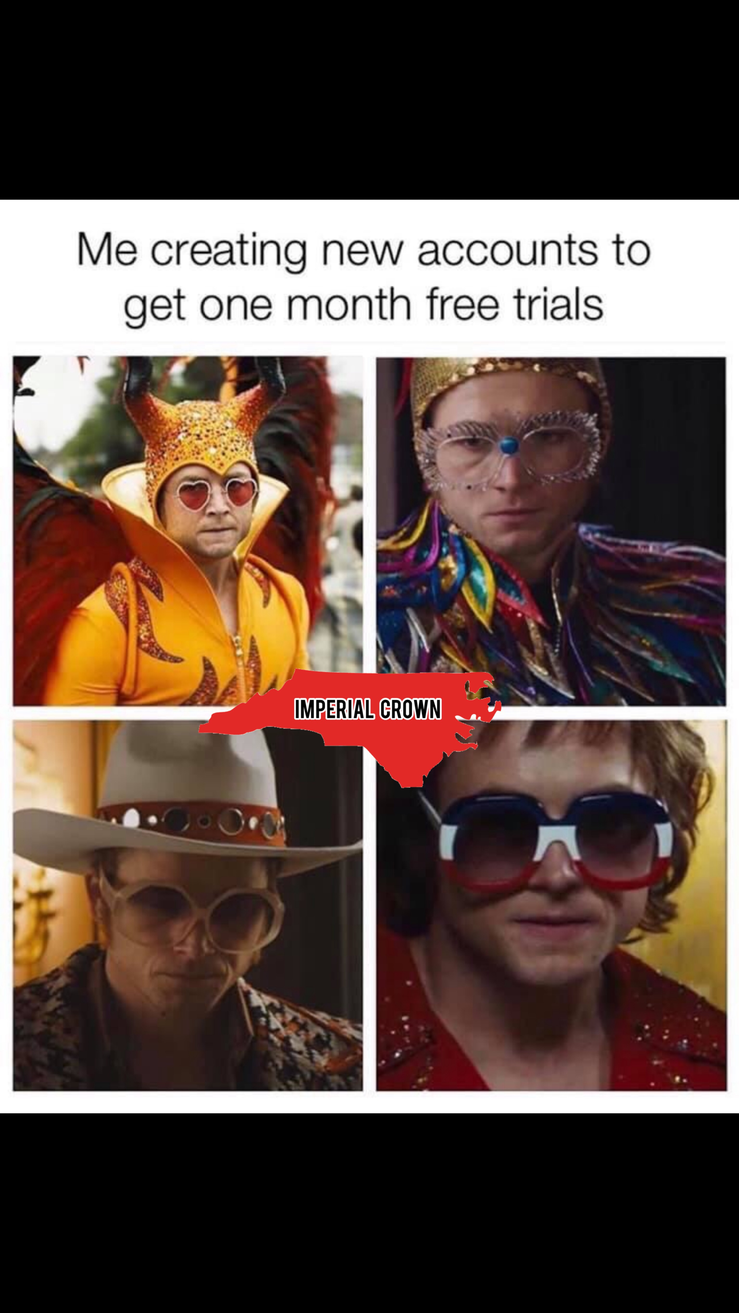 Me creating new accounts to get one month free trial