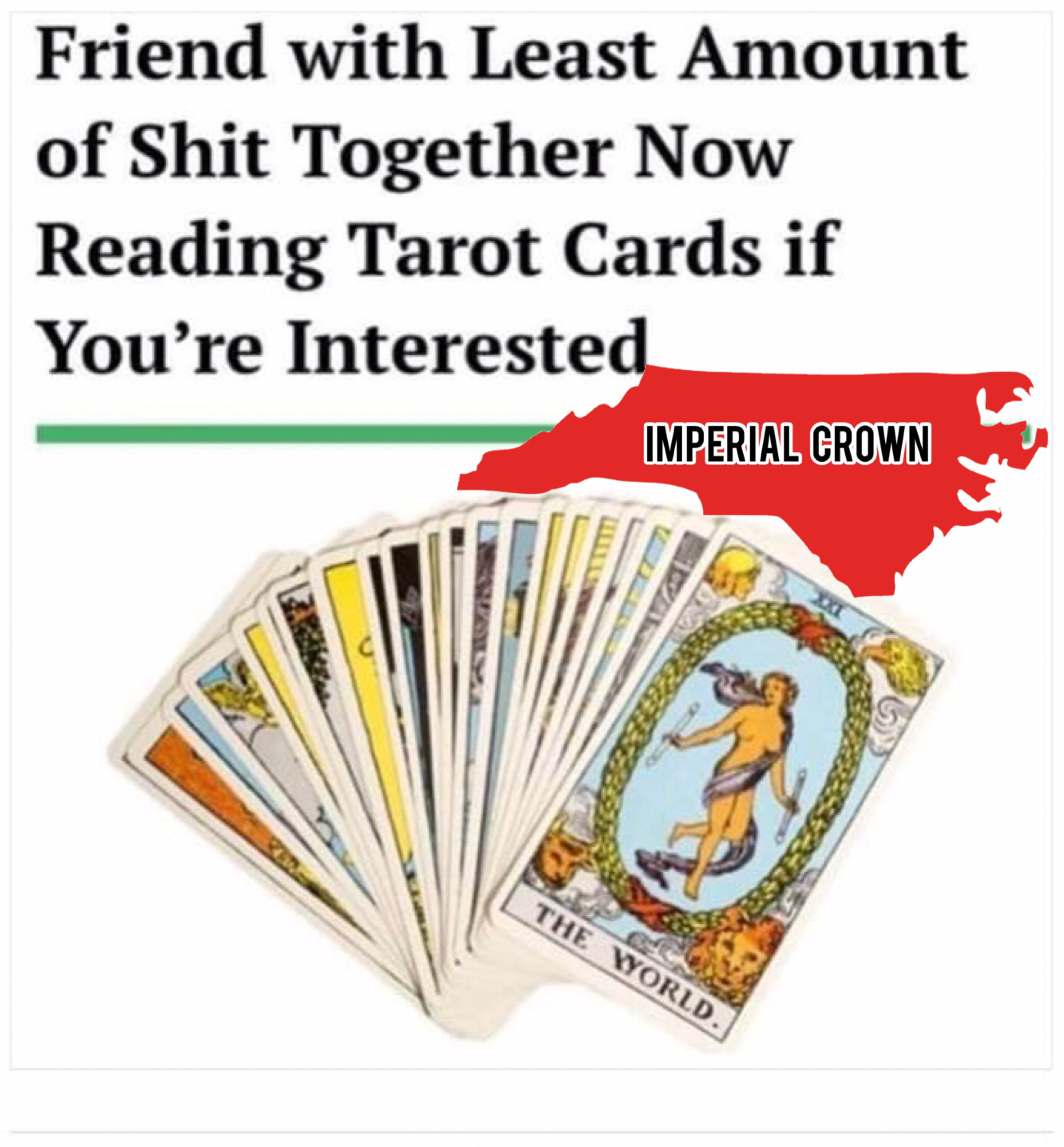 Friends with least amount of shit together now reading tarot cards….