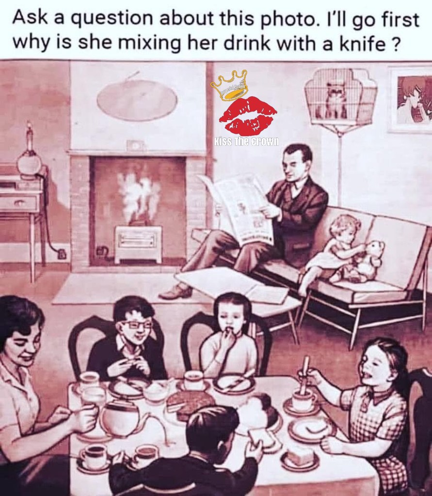 Ask a question about this photo I'll go first why is she mixing her drink with a knife
