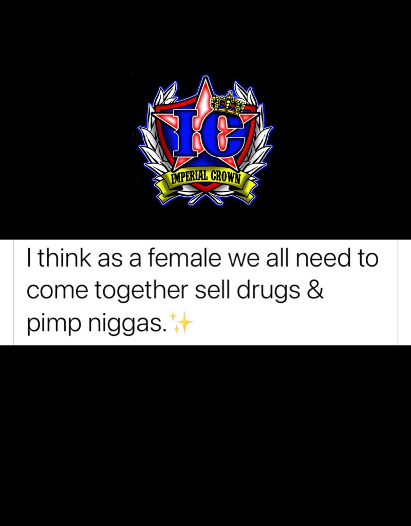 I think as a female we all need to come together sell drugs & pimp niggas