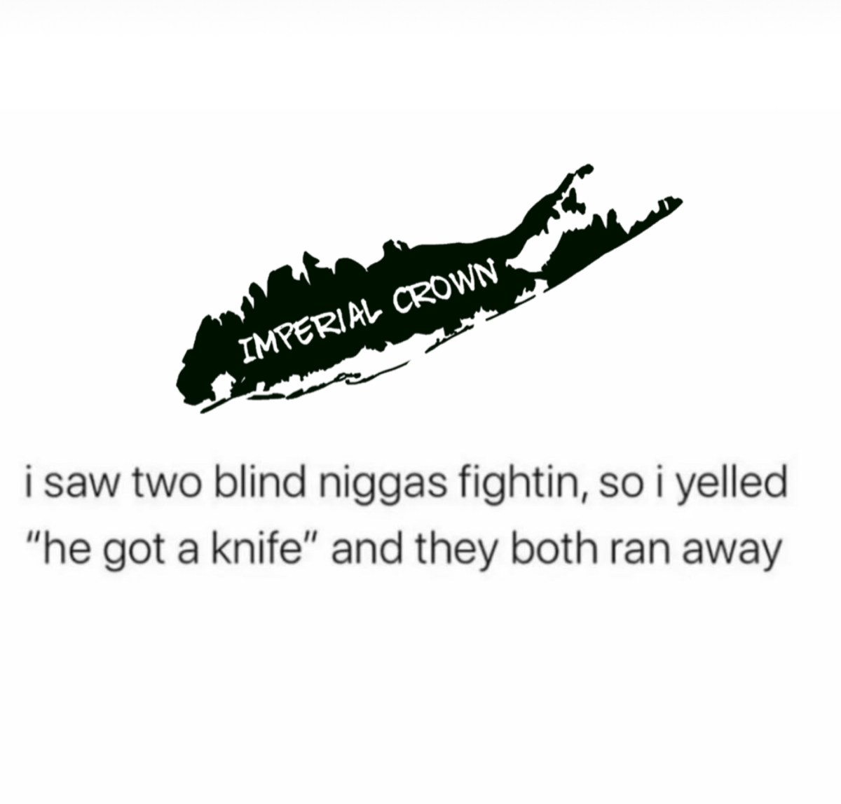 """I saw two blind niggas fighting, so I yelled """" he got a knife"""" and they both ran away"""