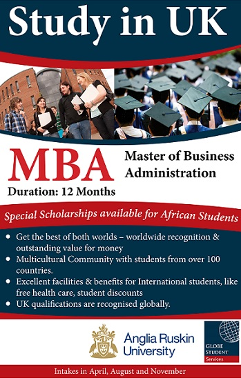 Get £3,000 Scholarship for your MBA study in Anglia Ruskin University UK