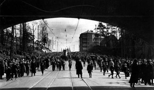 Vappukulkue vuonna 1933 Helsingissä.