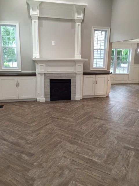 wood floor tile installed in a