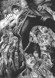 Comic-style image representing the Warhammer Quest Dungeon Event - Trap! The Hungry Pit