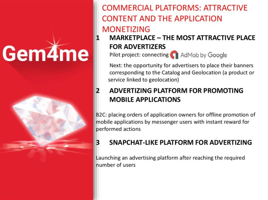 Gem4me, commercial platforms
