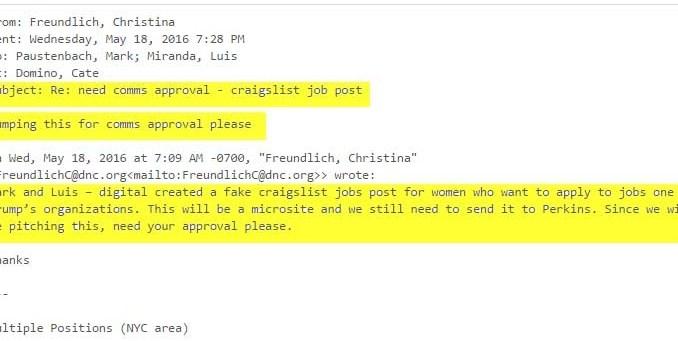 Dnc Wikileaks Posting Fake Sexist Donald Trump Craigslist Job Post