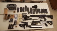 "Weapons arsenal discovered in the vehicle of Scott Edmisten, that includes two ""bump stock"" equipped AR-15 semi-automatic rifles"