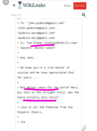 "Tom Steyer, a billionaire trying desperately to impeach President Trump, in an email to John Podesta referring to one of two things: an actual recipe, or code words for orgies ""sauce"" and pedophelia with black kids ""walnut""."