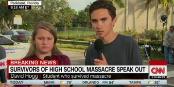 David Hogg (right) presenting himself to US mainstream media as a survivor of Stoneman Douglas High School massacre on 15 February 2018