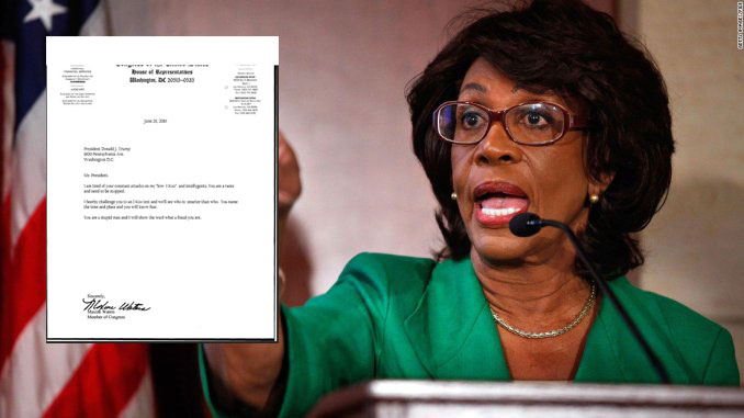 "Maxine Waters Challenges Trump to IQ Test, Misspells ""IQ"""