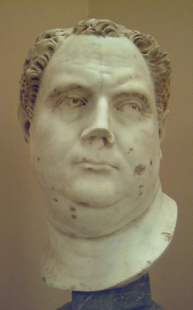 Cabeza del emperador romano AULO VITELIO (15-69 d.C.), en el Museo de la Real Academia de Bellas Artes de San Fernando, en Madrid (España). Medidas: 0,40 x 0,27 x 0,27 m. Esculpida en mármol en torno al año 69 d.C. por un autor anónimo romano, quien copió el modelo existente en el Museo Capitolino de Roma, siguiendo la línea artística de la excelente retratística de la época de Nerón. La obra fue donada por el académico Blas Ametller (1768-1841) y entregada por sus testamentarios en 1841. Head of Roman emperor AULUS VITELLIUS (15-69 AD), at the Museum of the Royal Academy of Fine Arts of San Fernando, in Madrid (Spain). Measurements: 0.40 x 0.27 x 0.27 metres. Sculpted in marble circa 69 AD by a Roman anonymous author, who copied the model that is at the Capitoline Museum in Rome, following the artistic style of the excellent portraits from Nero's time. The piece was donated by academician Blas Ametller (1768-1841) and given by his testamentaries in 1841.