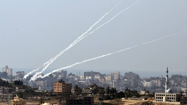 Almost looks like fireworks, but these are HAMAS rocket attacks.