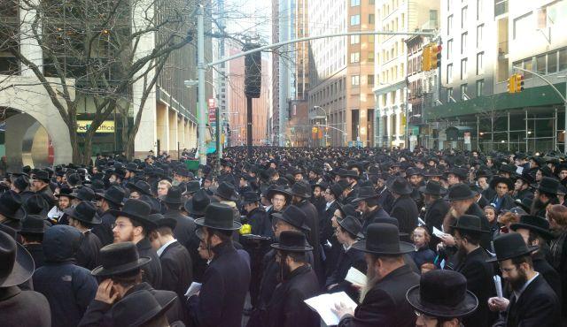 New York: Orthodox Jews protest against Israel.