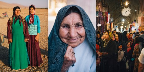 Faces of Iran: Nomads in the Fars Province; old woman in Eghlid; shoppers in the Vakil Bazaar, Shiraz