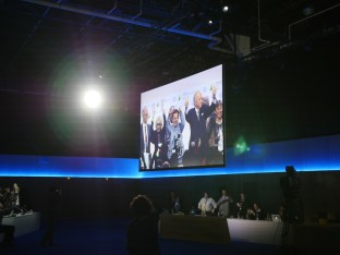 The main plenary hall stage, where the COP presidency celebrated the gavelling