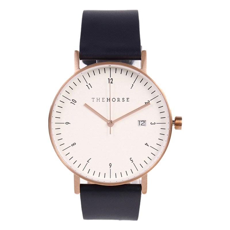 ネイビーレザー腕時計