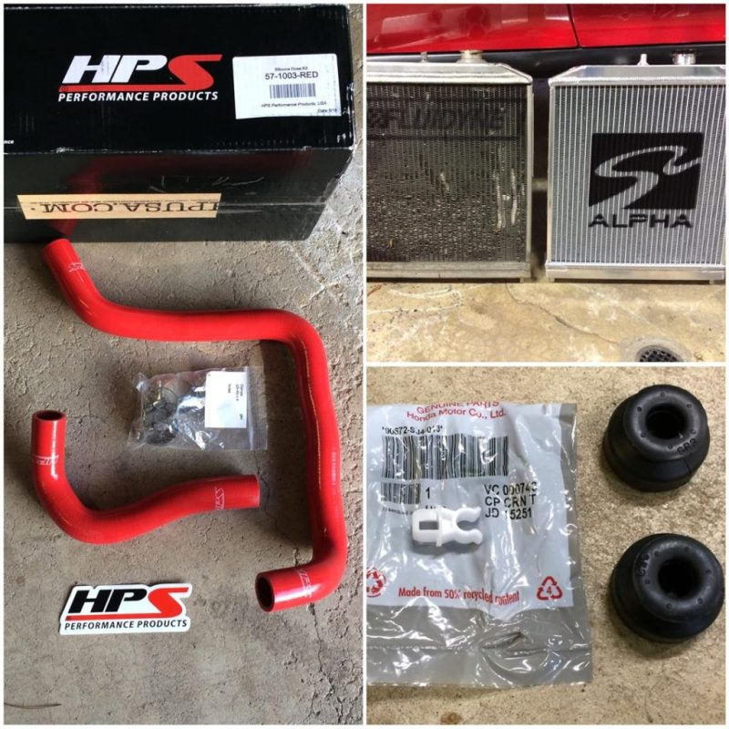 My Fluidyne radiator was almost 16 years old and was starting to leak. To replace it, I bought a Skunk 2 radiator. I also picked up new OEM radiator bushings. I also had to order new hoses and elected to use HPSs silicon hoses. I thought the red hoses were a nice touch!