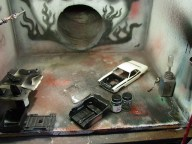 Originally, I had painted the interior light tan. I decided that black was better.