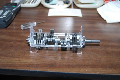 Assembly of the crank, rods and lower engine block.