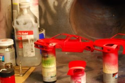 Then color. This is the same red paint that I used to paint the fenders on my real Honda.