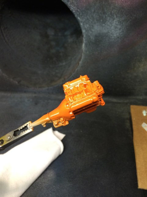 The seam filling and new paint made a huge difference on the engine even at this stage.