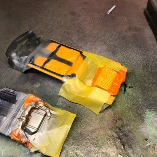 The CRX and Buick chassis are masked and detail painted.