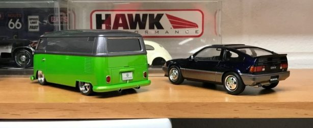 The completed Bus and CRX.